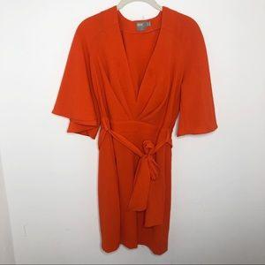 ASOS Orange Deep V Flutter Sleeve Dress